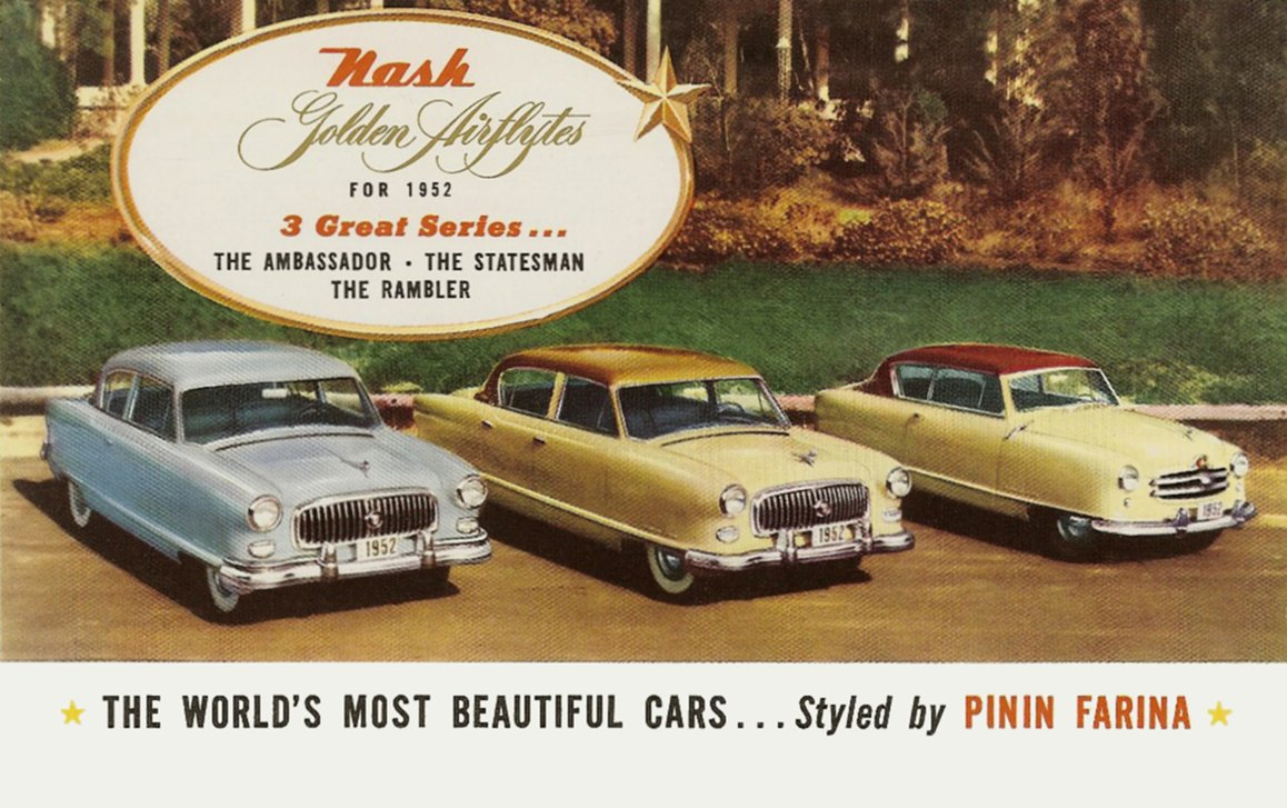 1952 NASH Golden Airflytes Postcard Celebrating 50 Years of Fine Cars Signed by Jerry M. McCullough March 13, 1952 NSP-52-959-320M-2-52 Front 7.75″x5″