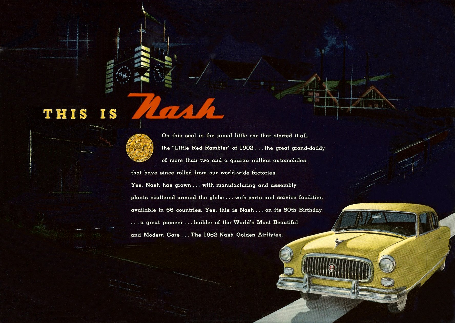 1952 The Golden Airflyte 1902-1952 Golden Anniversary By NASH Sales Catalog NSP-52-950-250M-3-52 Page 21, 12″x9″