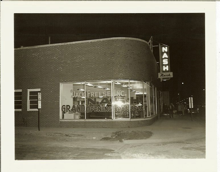 Jack Freese Inc. A NASH automobile dealership GRAND OPENING Sept 25-26, 1952 From a 5″x4″ Black & White negative