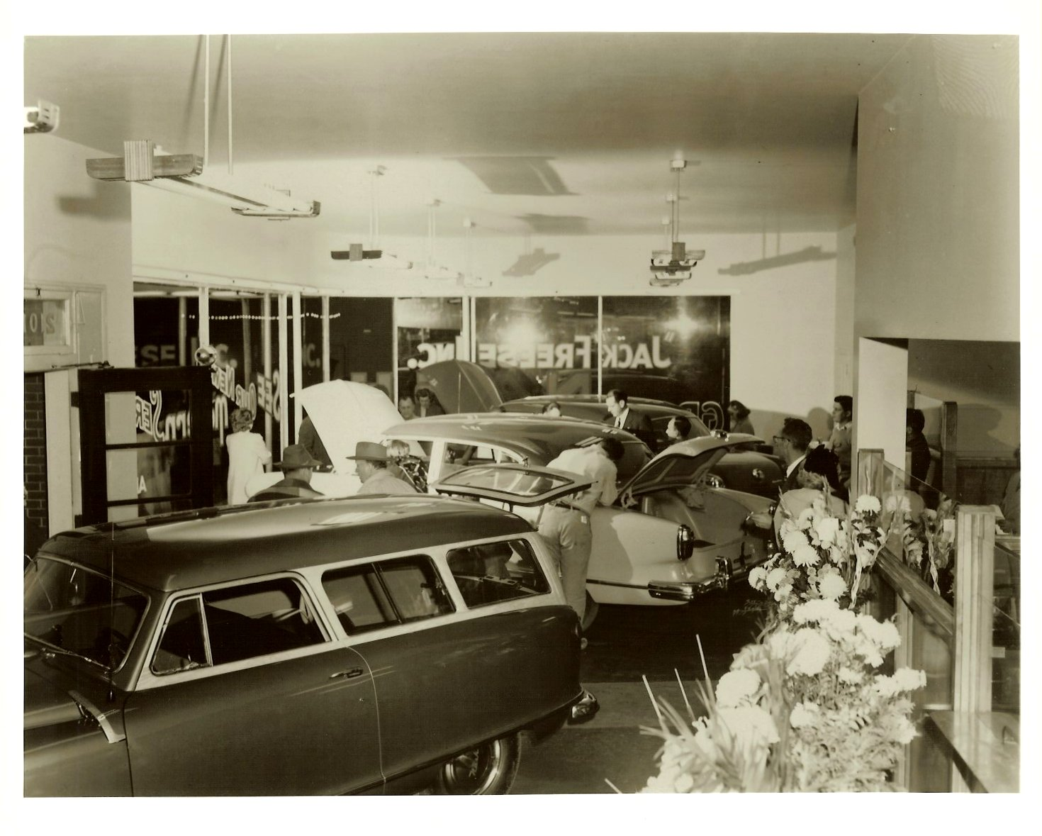 Jack Freese Inc. A NASH automobile dealership GRAND OPENING Sept 25-26, 1952 From a 10″x8″ Black & White negative