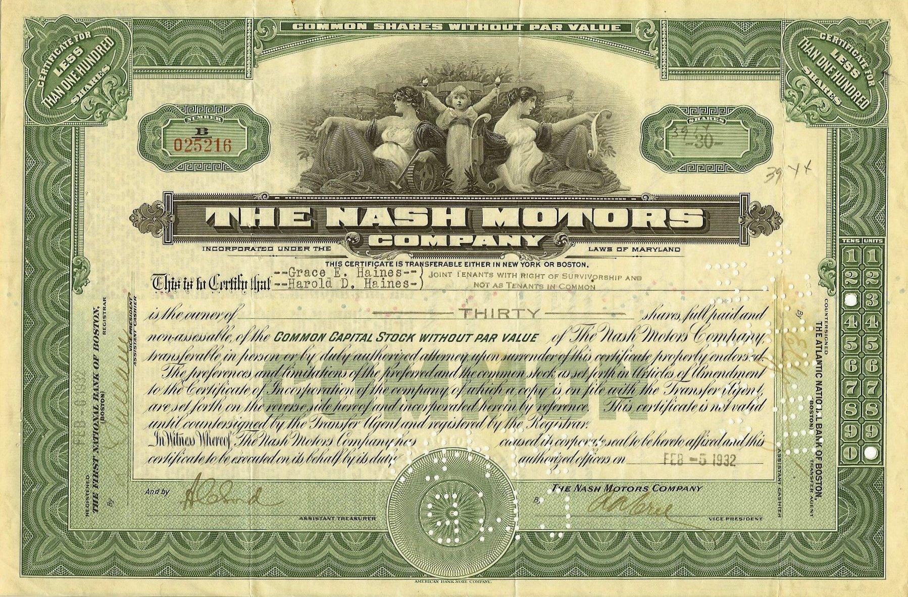 Nash Motors Company (32) Shares of Stock Feb 5, 1932 12″x8″