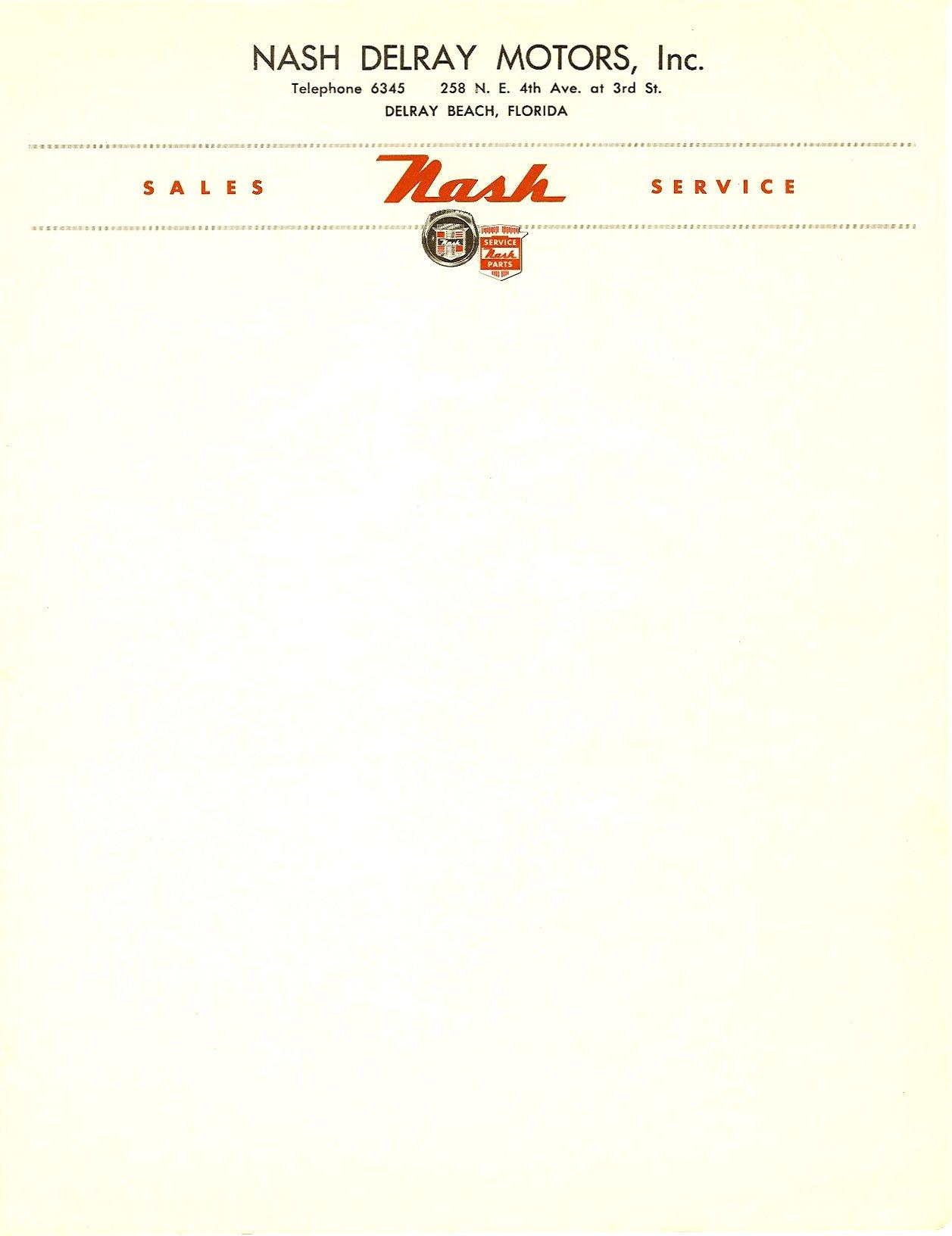 Nash Delray Motors, Inc. Delray Beach, Florida Stationary 8.5″x11″