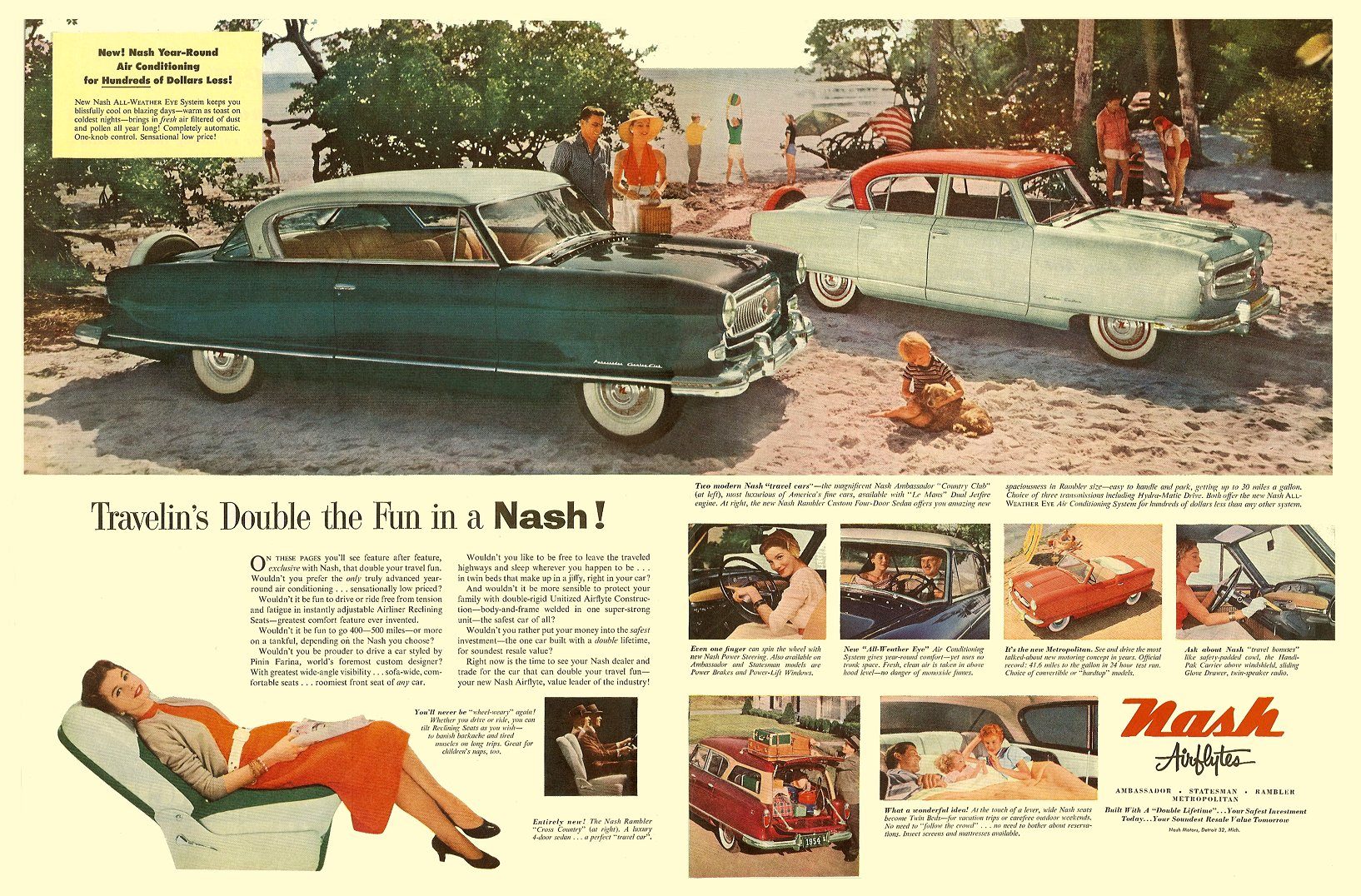 Travelin's Double the Fun in a NASH! The Saturday Evening Post, ca. 1954 Pages 77, 10.6″x13.5″