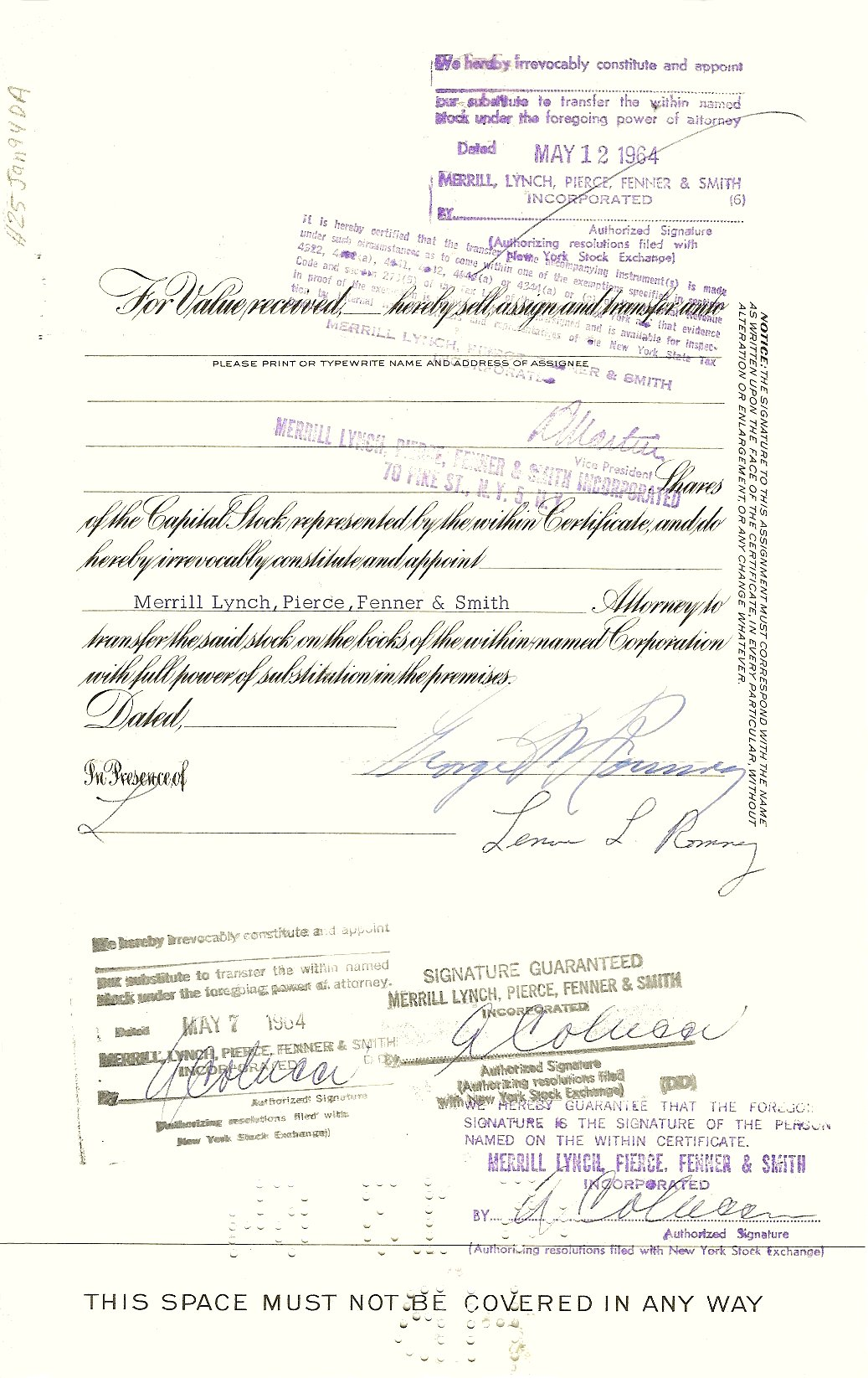 100 Shares of Nash-Kelvinator Corporation Once owned by and signed by: George W Romney and Mrs Lenore L Romney Dated May 12, 1964 11″x7″ Back