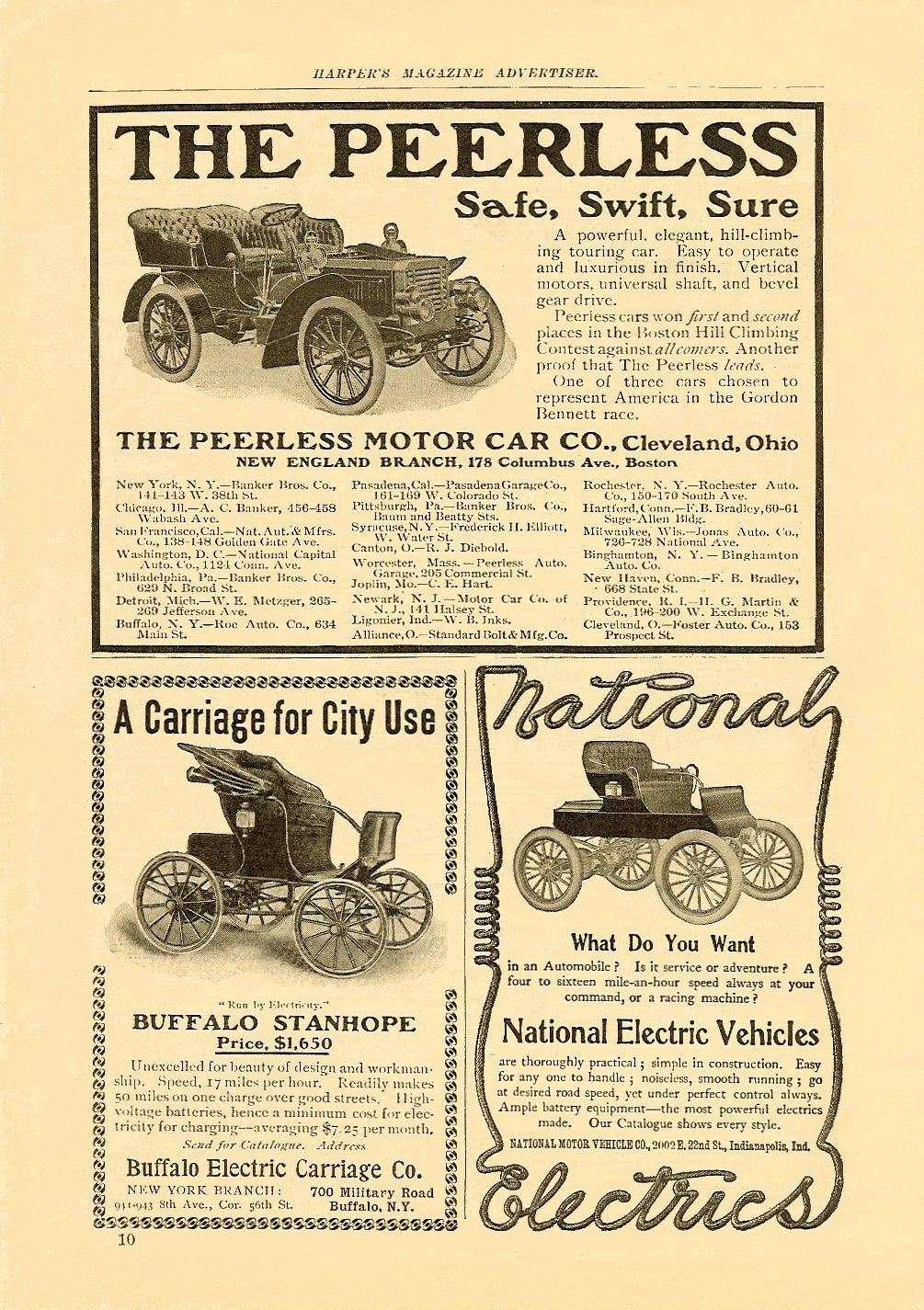 1903 6 NATIONAL National Electrics What Do You Want June 1903 HARPER'S MAGAZINE ADVERTISER 6.75″x9.75″, AD = 2.75″x4.25″ page 10