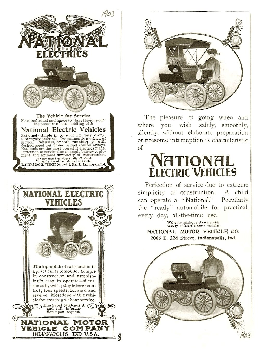ca. 1903 NATIONALl xerox of magazine ads Antique Automobile Club of America Library Hershey, PA
