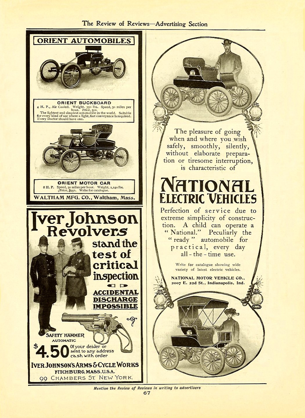 1903 3 NATIONAL ELECTRIC VEHICLES The Review of Reviews-Advertising Section March 1903 7″x9.5″ page 67