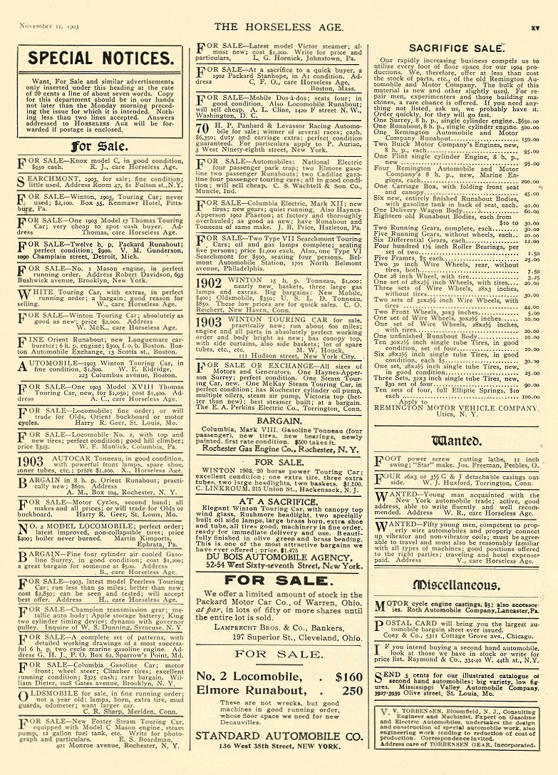 1903 11 11 FOR SALE: NATIONAL Electric Park Trap FOR SALE: COLUMBIA Electric Mark XII THE HORSELESS AGE Nov 11, 1903 9.25″x12″ page 15