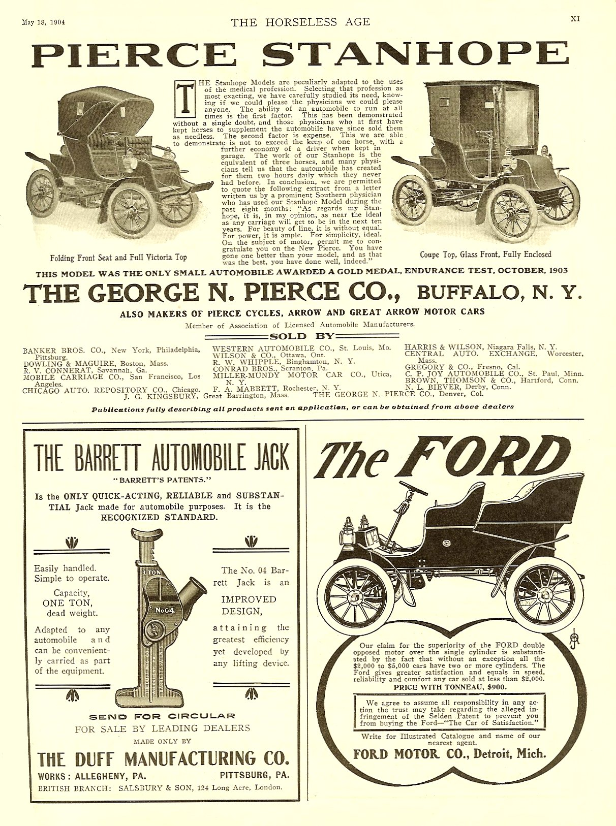 1904 5 18 The FORD THE HORSELESS AGE May 18, 1904 Vol. 13 No. 20 9″x12″ page XI