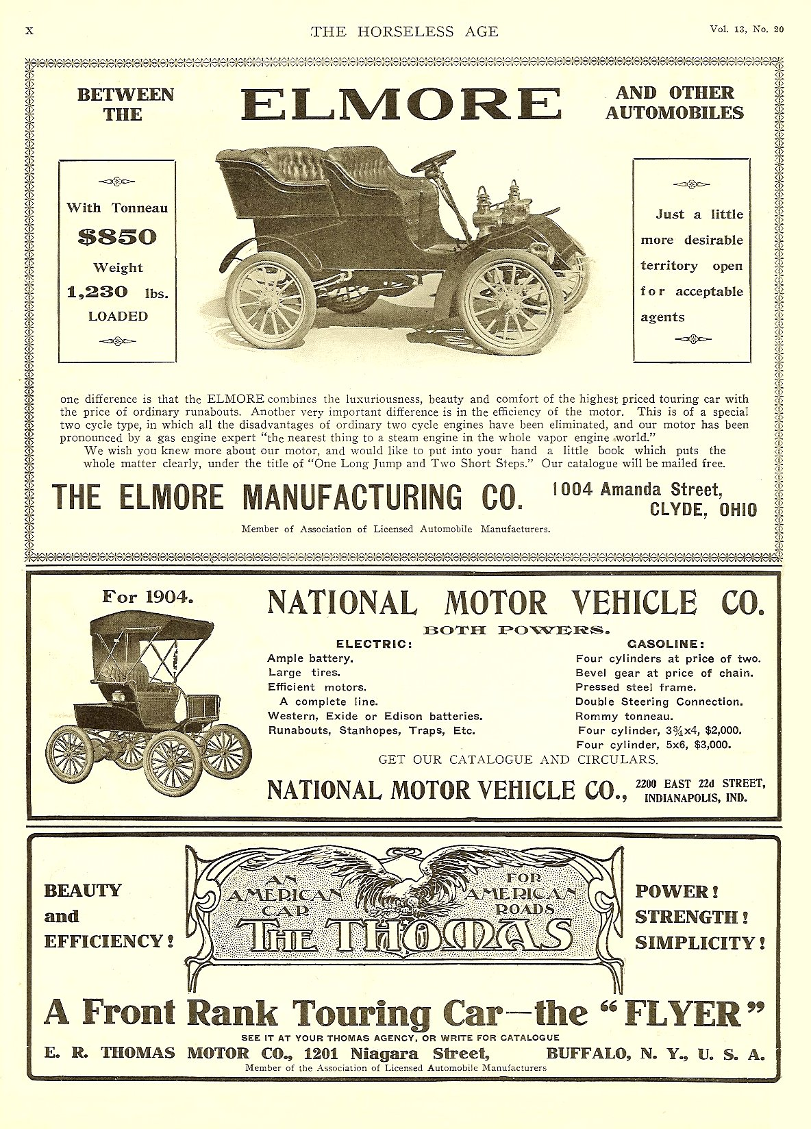 1904 5 18 National Motor Vehicle Co BOTH POWERS Electric Gasoline THE HORSELESS AGE May 18, 1904 Vol. 13 No. 20 9″x12″ page X