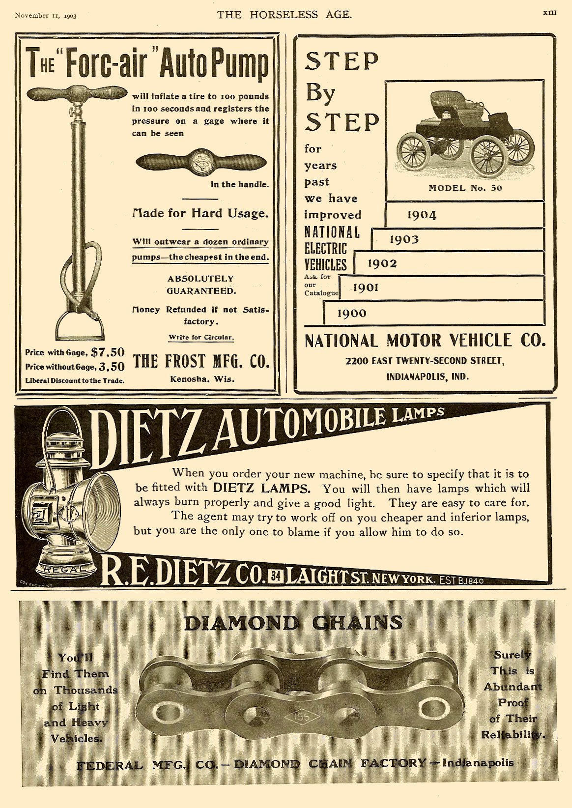 1903 11 11 1904 National Electric Model No. 50 The Horseless Age magazine Nov 11, 1903 Vol. 12 No. 20 9.25″x12″ page 13