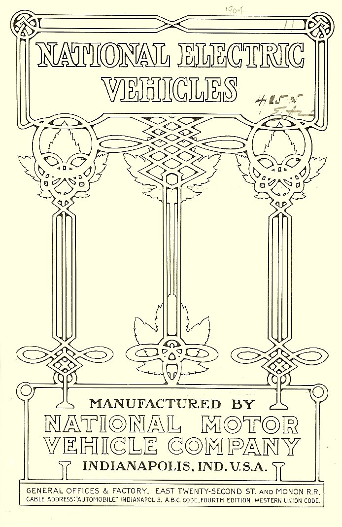 1904 NATIONAL ELECTRIC VEHICLES Sales catalog Folded: 4.5″x7″ Front cover