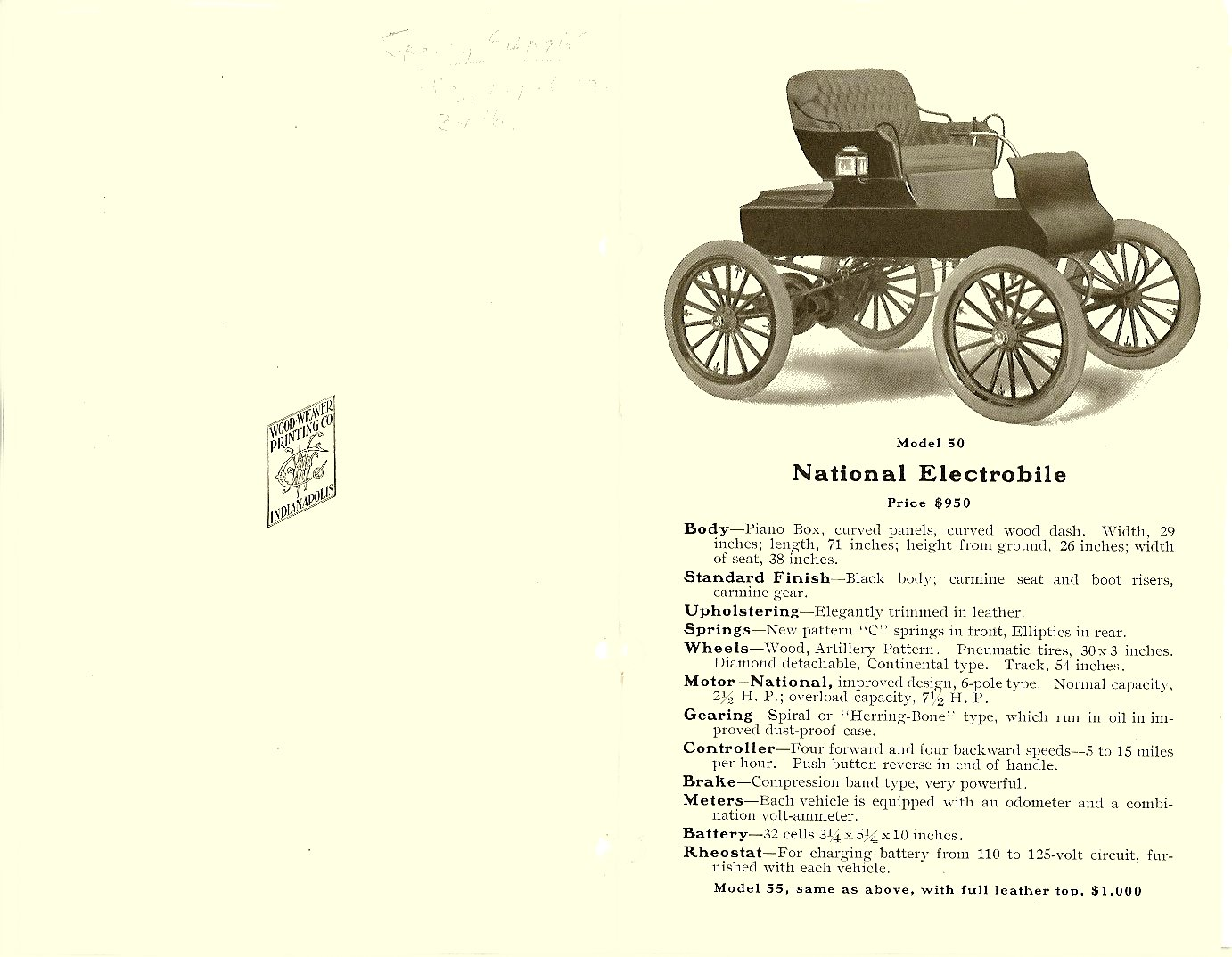 1904 NATIONAL ELECTRIC VEHICLES Sales catalog Open: 9″x7″ pages 1 & 2