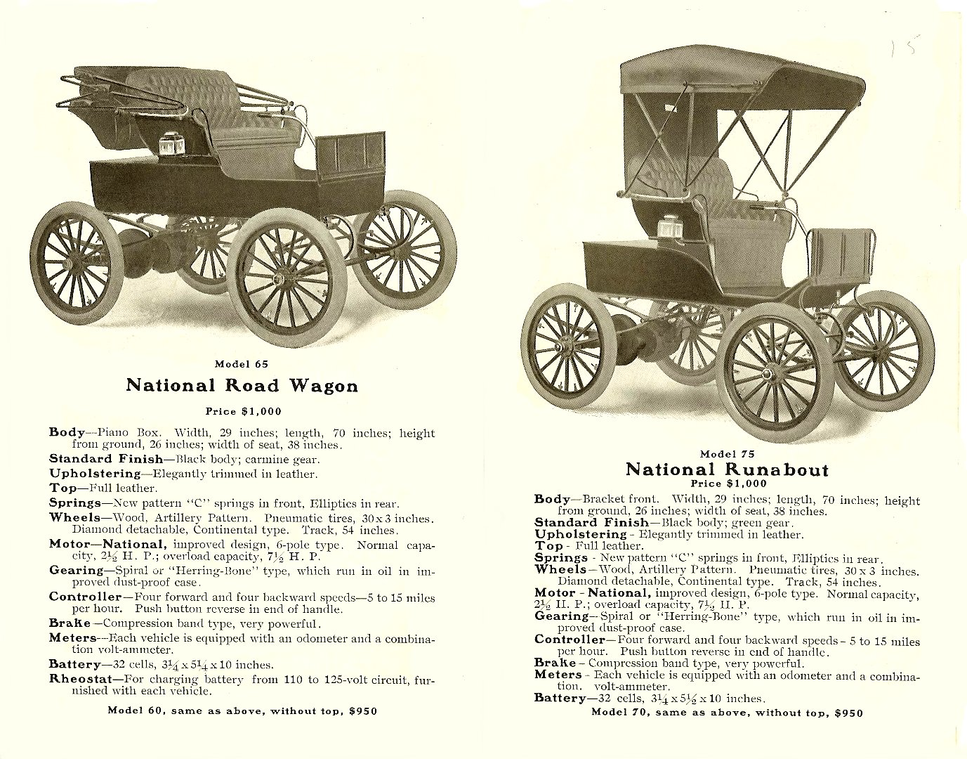 1904 NATIONAL ELECTRIC VEHICLES Sales catalog Open: 9″x7″ pages 3 & 4