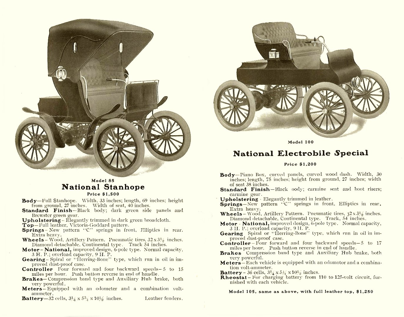 1904 NATIONAL ELECTRIC VEHICLES Sales catalog Open: 9″x7″ pages 5 & 6