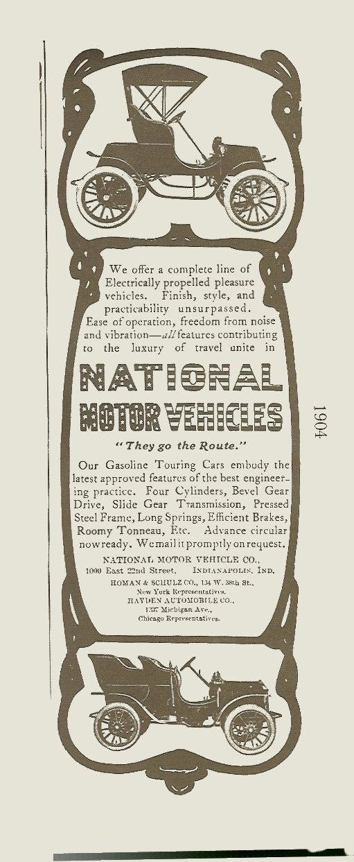 1904 National magazine ad 1895-1930 The Wonderful World of AUTOMOBILES Edited By Joseph J. Schroeder, Jr., 1971 ISBN: 0-695-80223-2 page 57