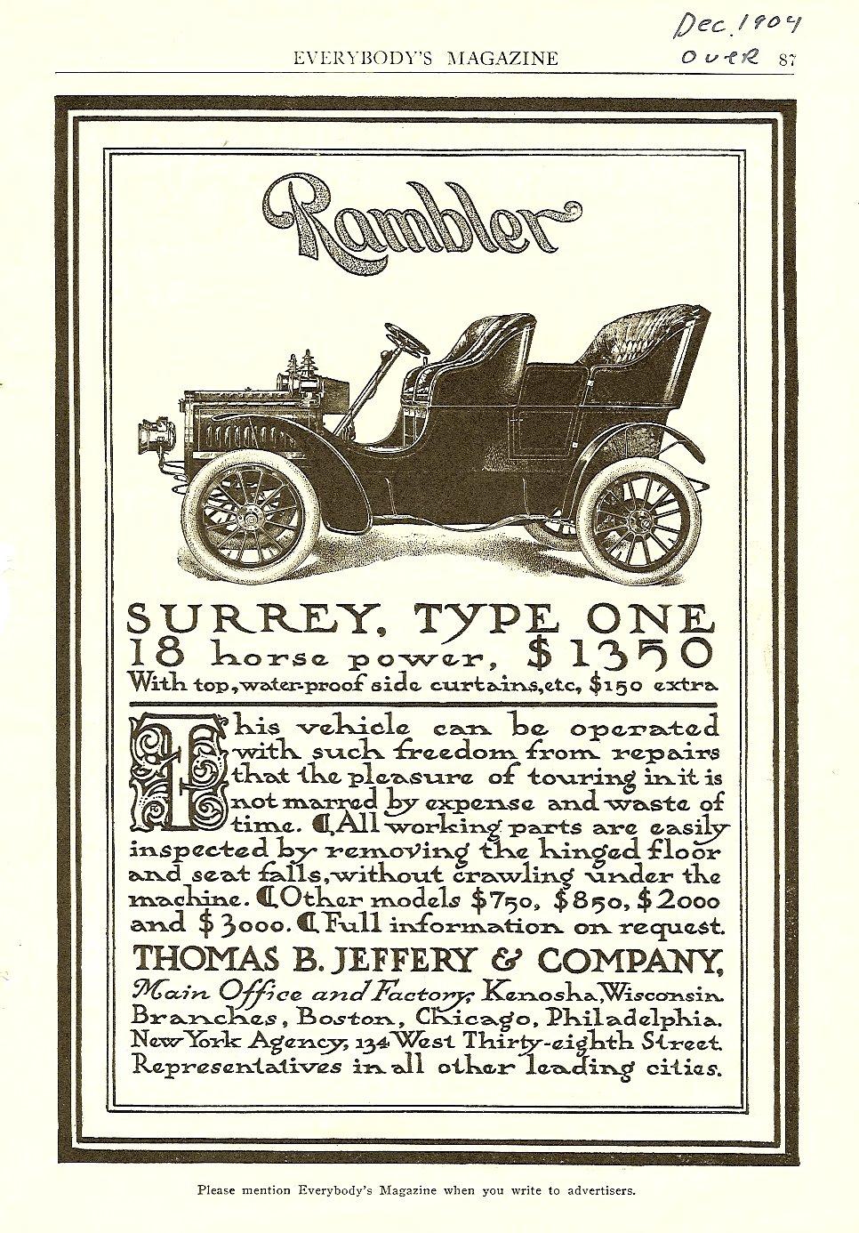 1904 12 Rambler Surrey, Type One EVERYBODY'S MAGAZINE Dec. 1904 6.75″x9.75″ page 87