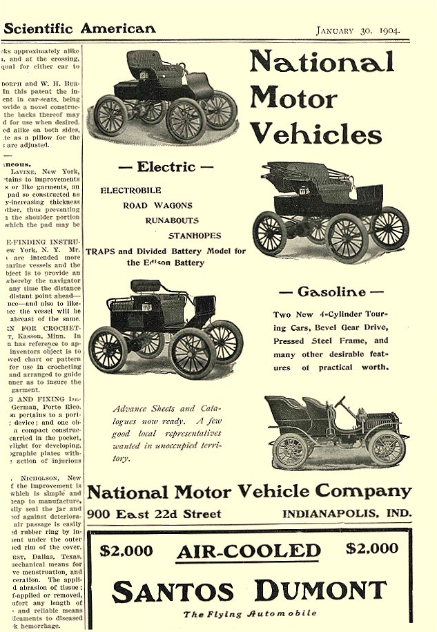 1904 1 30 NATIONAL Electric National Motor Vehicles National Motor Vehicle Company Indianapolis, IND Scientific American January 30, 1904 6.25″x9.25″