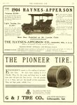 1904 5 18 HAYNES HAYNES-APPERSON See Our Exhibit at St. Louis Fair Haynes-Apperson Kokomo, Indiana THE HORSELESS AGE May 18, 1904 Vol. 13 No. 20 9″x12″ page IX