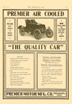 "1904 5 25 PREMIER PREMIER AIR COOLED ""THE QUALITY CAR"" Premier Motor Mfg. Company Indianapolis, Indiana ""The Quality Car"" THE HORSELESS AGE May 25, 1904 Vol. 13 No. 21 9″x12″ page 31"