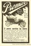 1904 12 PREMIER The Air Cooled has no Season The Quality Car Premier Motor Mfg. Company Indianapolis, Indiana Everybody's Magazine Dec. 1904 6.75″x9.75″ page 88
