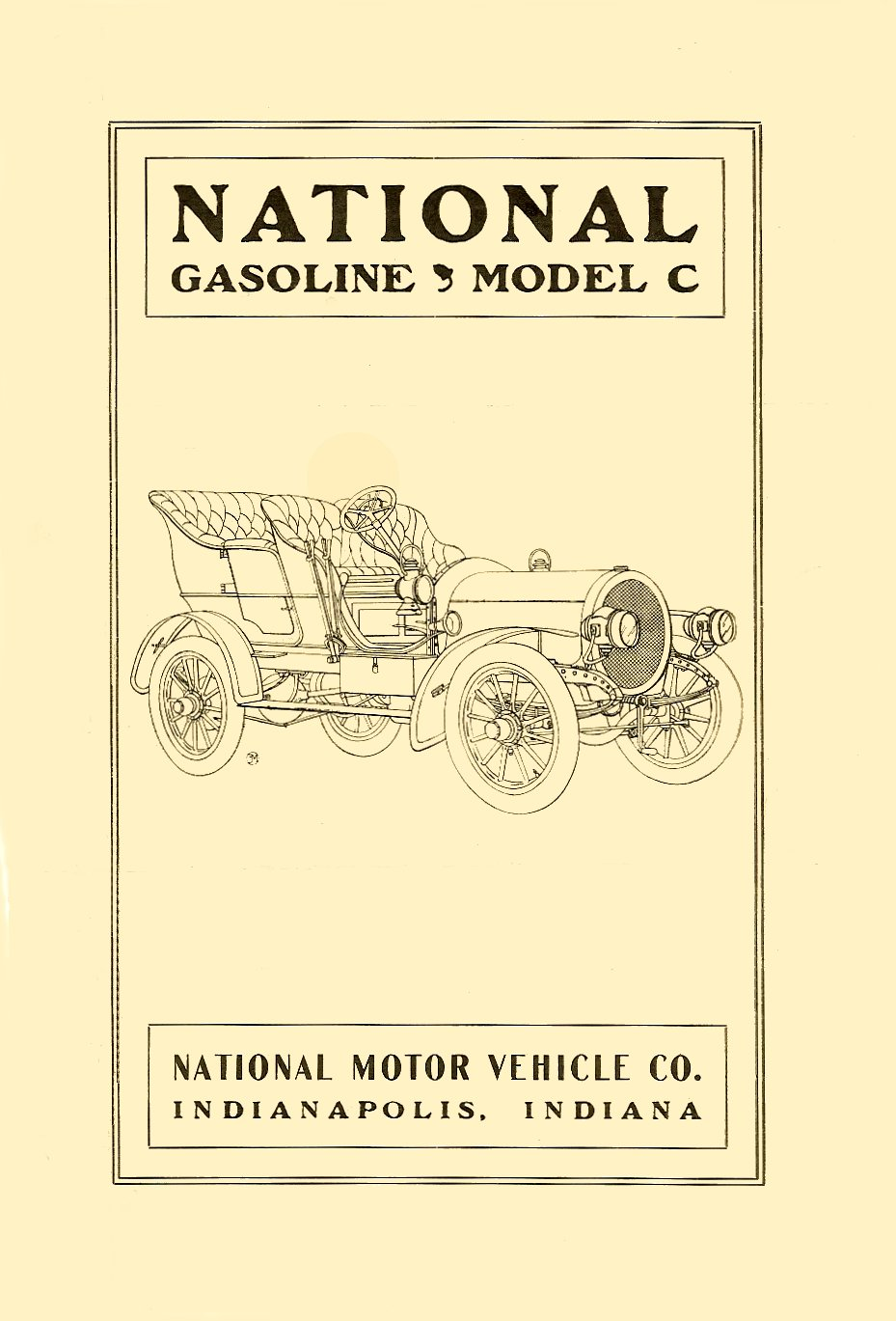 1905 NATIONAL Gasoline Model C Sales brochure Folded: 6″x9″ Front page
