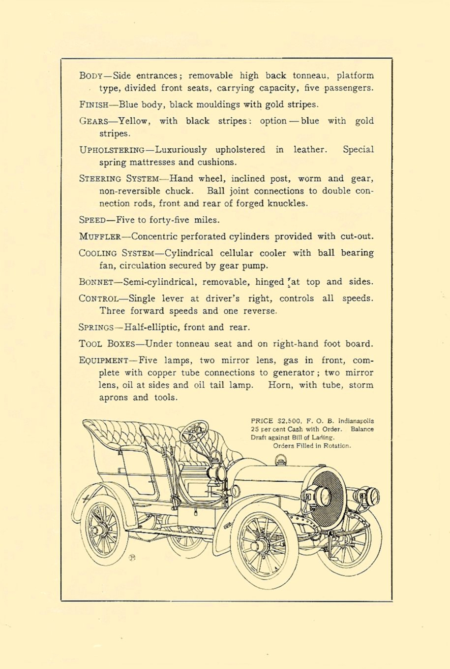 1905 NATIONAL Gasoline Model C Sales brochure Folded: 6″x9″ page 3