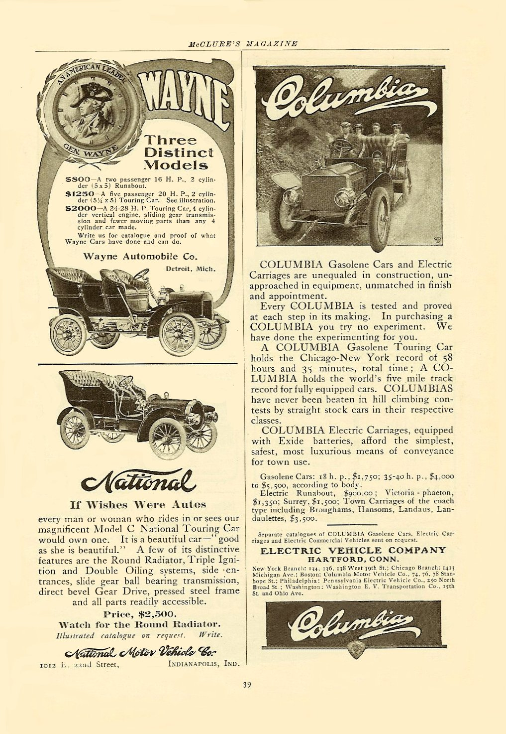 "1905 National ""National If Wishes Were Autos"" $2,500 in 1905 = $51,309 in 2005 McCLURE'S MAGAZINE 6″x9.75″ page 39"