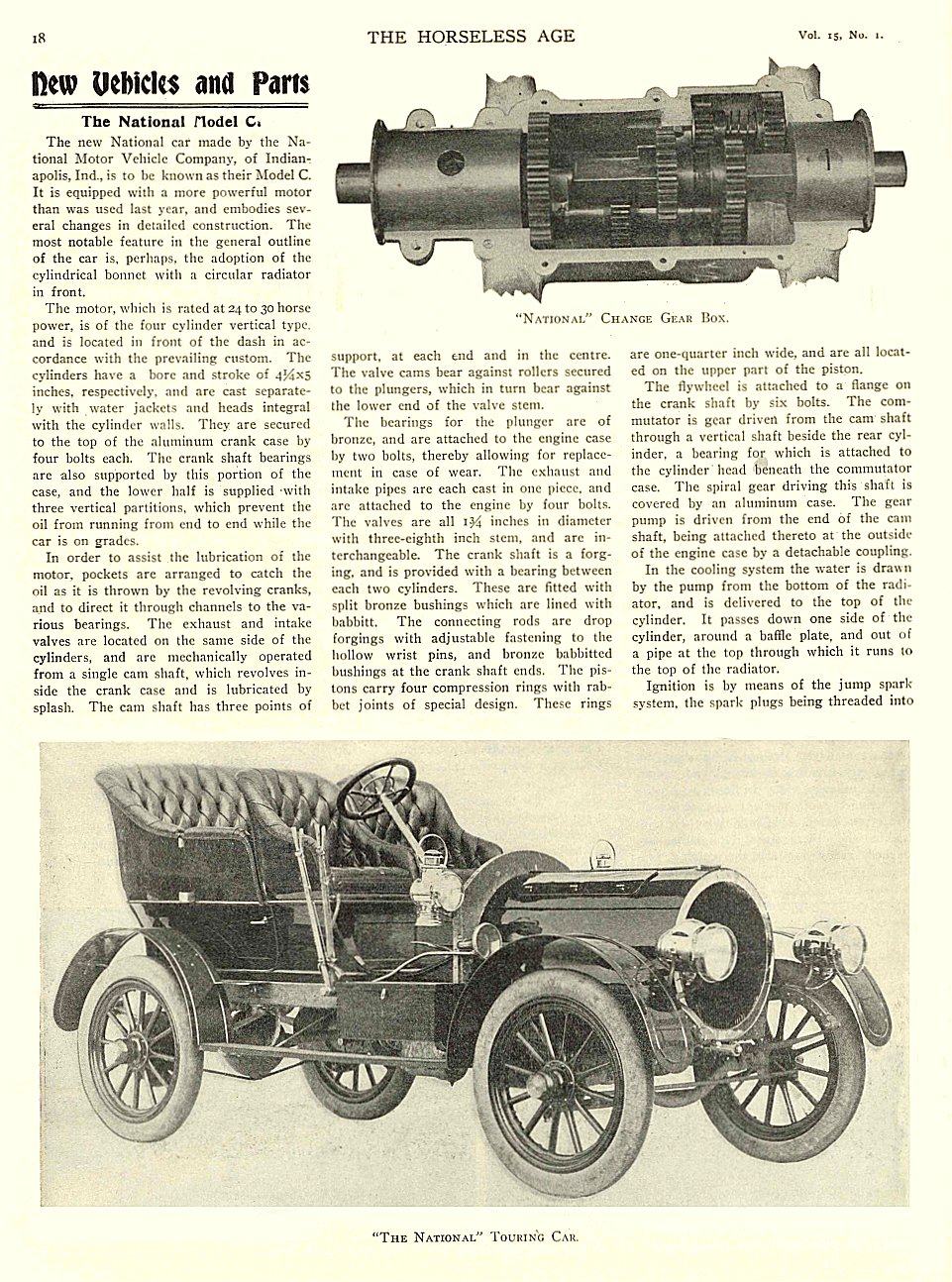 "1905 1 4 NATIONAL Article The National Model C ""The National"" Touring Car THE HORSELESS AGE January 4, 1905 University of Minnesota Library 8.75″x11.5″ page 18"