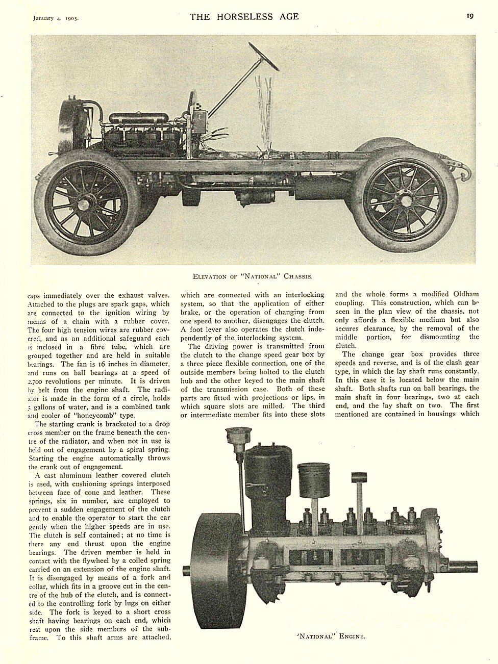 "1905 1 4 NATIONAL Article Elevation of ""National"" Chassis ""National"" Engine THE HORSELESS AGE January 4, 1905 University of Minnesota Library 8.75″x11.5″ page 19"