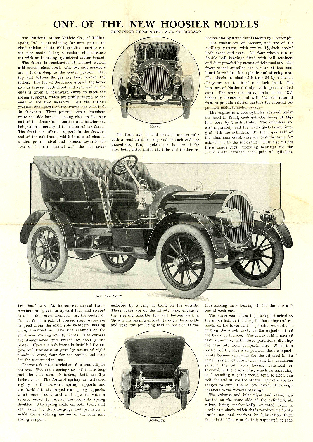 1905 NATIONAL Model C ONE OF THE NEW HOOSIER MODELS REPRINTED FROM MOTOR AGE, OF CHICAGO NATIONAL MOTOR VEHICLE COMPANY Indianapolis, IND 9.25″x13″ page 1 of 4