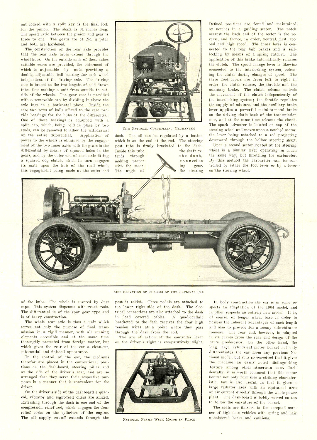1905 NATIONAL Model C ONE OF THE NEW HOOSIER MODELS REPRINTED FROM MOTOR AGE, OF CHICAGO NATIONAL MOTOR VEHICLE COMPANY Indianapolis, IND 9.25″x13″ page 3 of 4