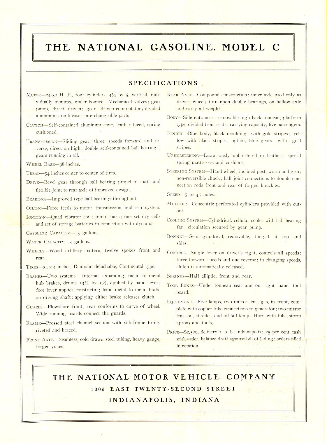 1905 NATIONAL Model C ONE OF THE NEW HOOSIER MODELS REPRINTED FROM MOTOR AGE, OF CHICAGO NATIONAL MOTOR VEHICLE COMPANY Indianapolis, IND 9.25″x13″ page 4 of 4