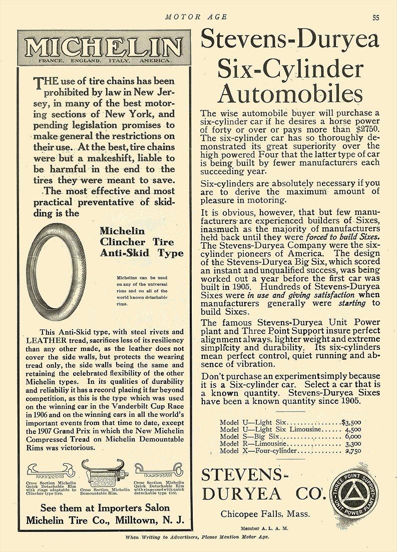 1908 1 2 MICHELIN Tire Clincher Tire Anti-Skid Type Michelin Tire Co Milltown, N.J. MOTOR AGE January 2, 1908 8.5″x11.75″ page 55