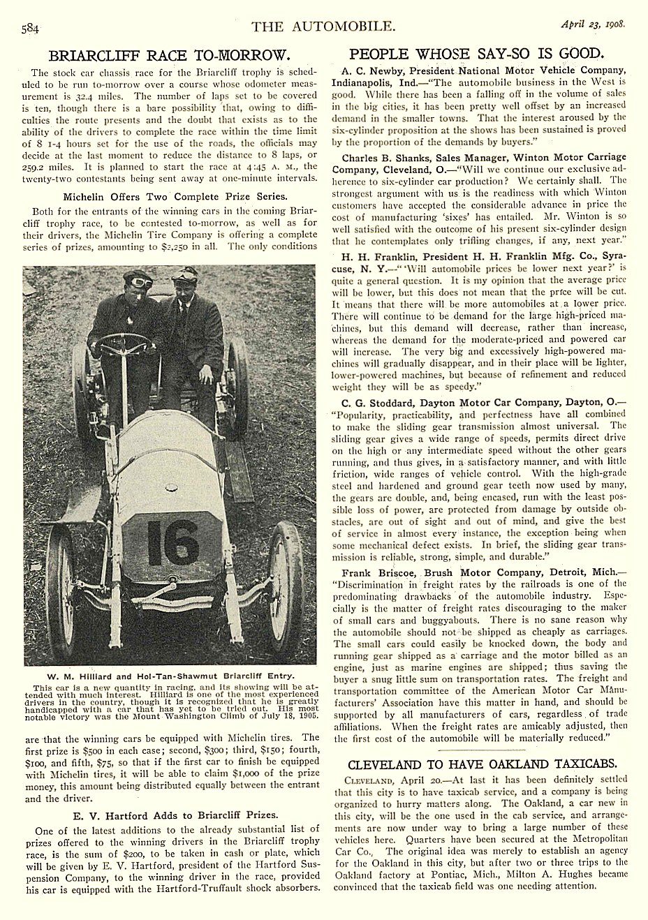 1908 4 23 NATIONAL Article PEOPLE WHOSE SAY-SO IS GOOD A.C. Newby, President National Motor Vehicle Company, Indianapolis, IND THE AUTOMOBILE April 23, 1908 University of Minnesota Library 8.25″x11.75″ page 584