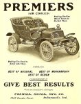 1905 ca. PREMIER BEST OF MATERIAL BEST OF WORKMANSHIP BEST OF DESIGN Premier Motor Mfg. Company Indianapolis, Indiana magazine ad ca. 1905 4.25″x6″