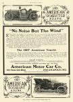 """1907 2 AMERICAN ROADSTER $3250 $3250 in 1907 = $78,857 in 2012 """"No Noise But The Wind"""" American Motor Car Co Indianapolis, IND MOTOR AGE page 144 8.25″x11.75″"""