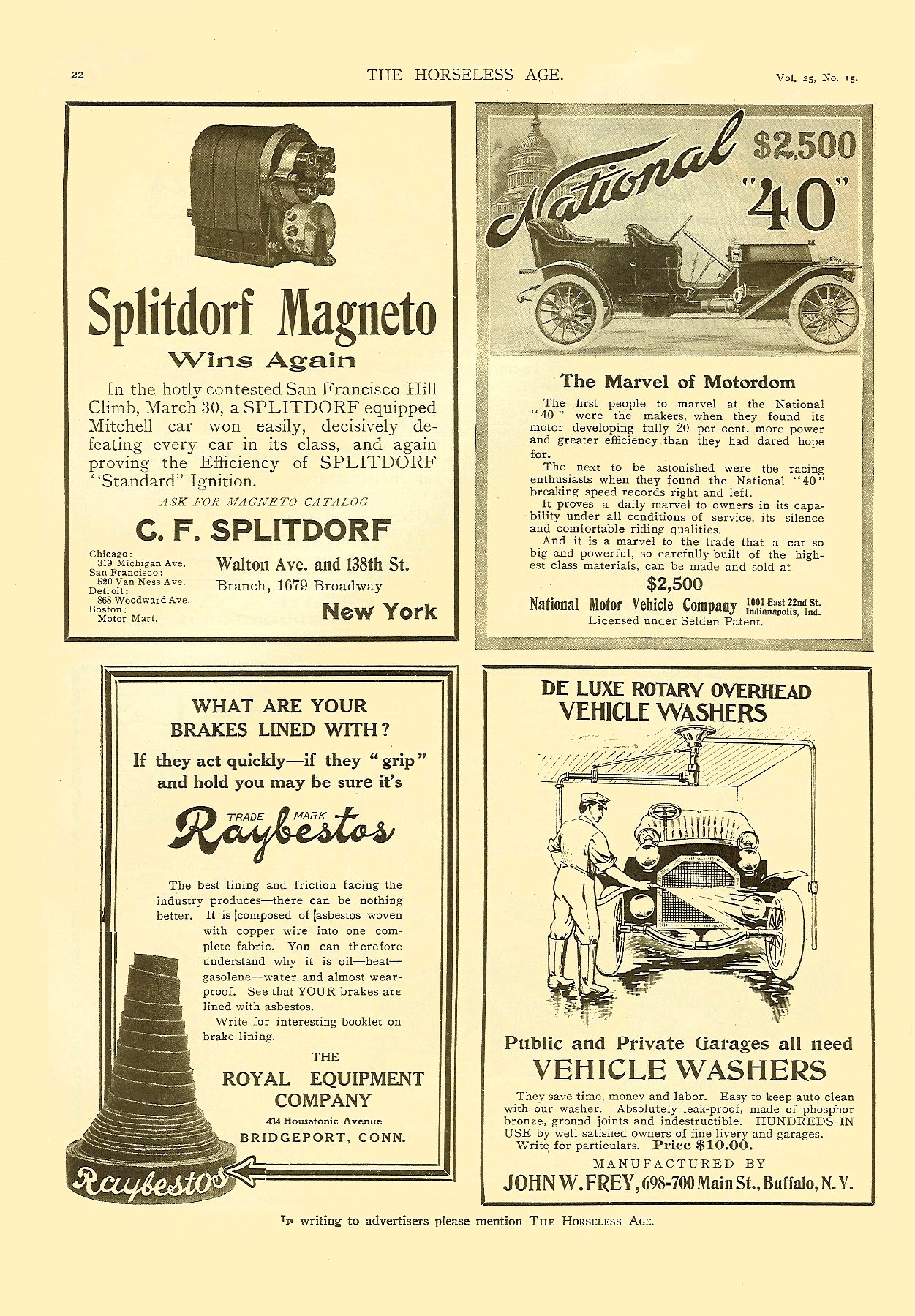 "1910 4 13 National ""40"" $2,500 The Marvel of Motordom THE HORSELESS AGE April 13, 1910 Vol. 25 No. 15 9″x12″ page 22"