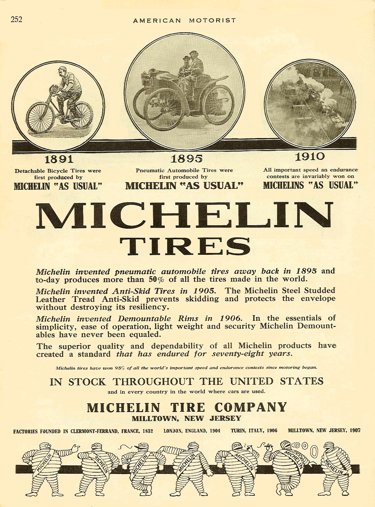 1910 7 MICHELIN Tires AMERICAN MOTORIST July 1910 Vol. 2 No. 2 9″x11.75″ page 252