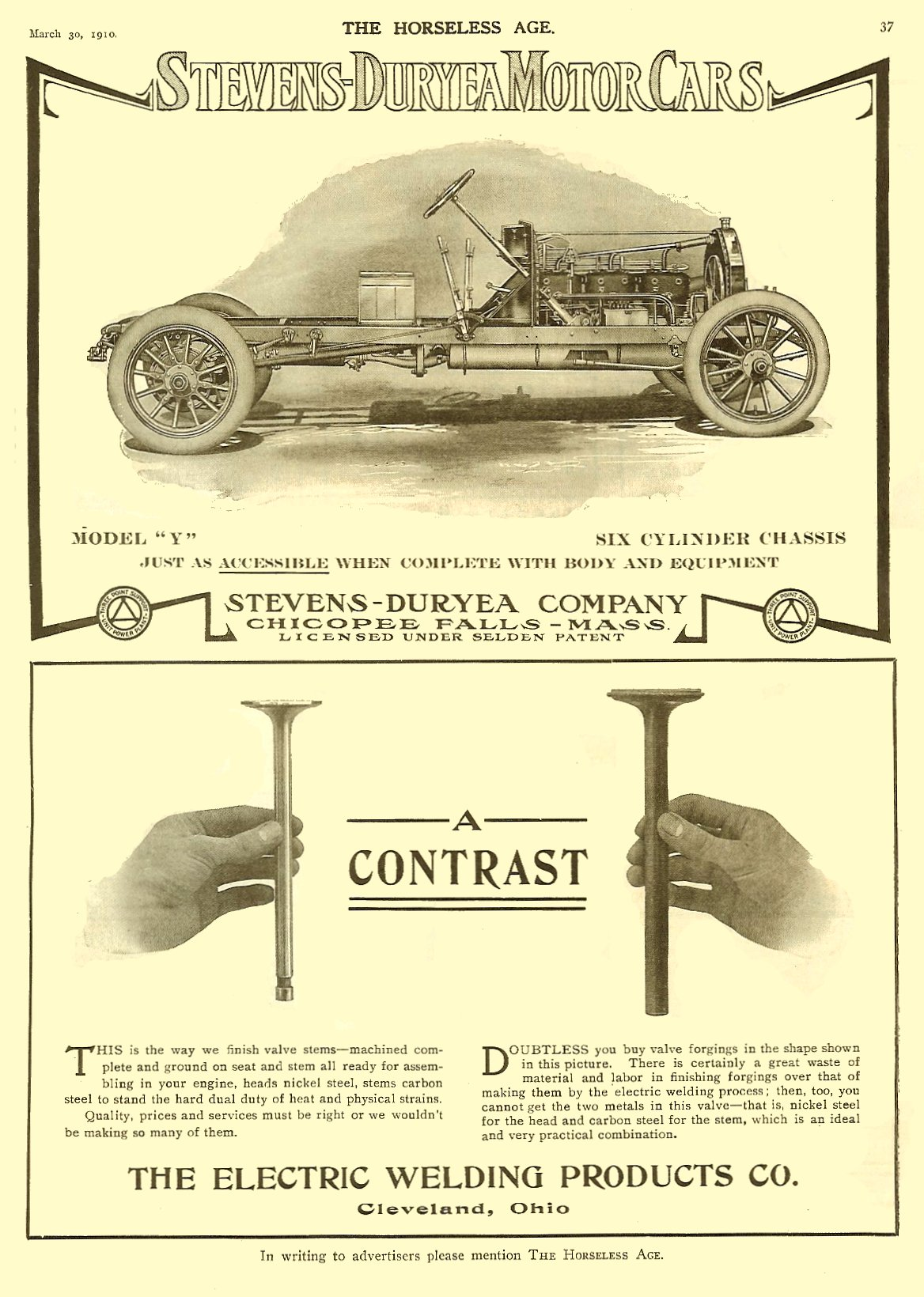 1910 3 30 Stevens-Duryea Motor Cars Chicopee Falls, MASS THE HORSELESS AGE March 30, 1910 Vol. 25 No. 13 9″x12″ page 37
