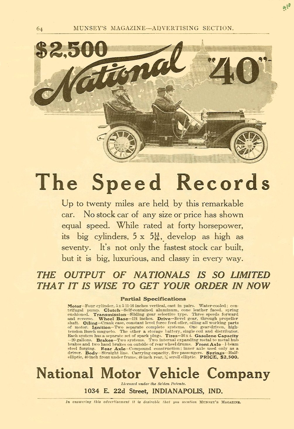 "1910 NATIONAL $2,500 National ""40"" ($2,500 = $51, 326 today) MUNSEY'S MAGAZINE – Advertising Section 1910 6.5″x9.75″ page 64"