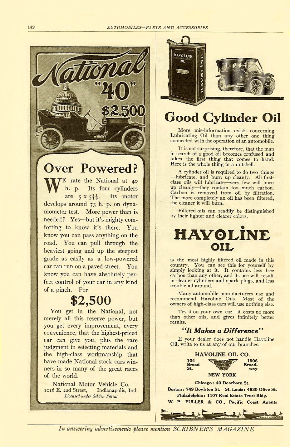 "1910 5 NATIONAL National ""40"" $2,500 ($2,500 = $51, 326 today) SCRIBNER'S MAGAZINE AUTOMOBILES – PARTS AND ACCESSORIES May 1910 6″x9.5″ page 142"