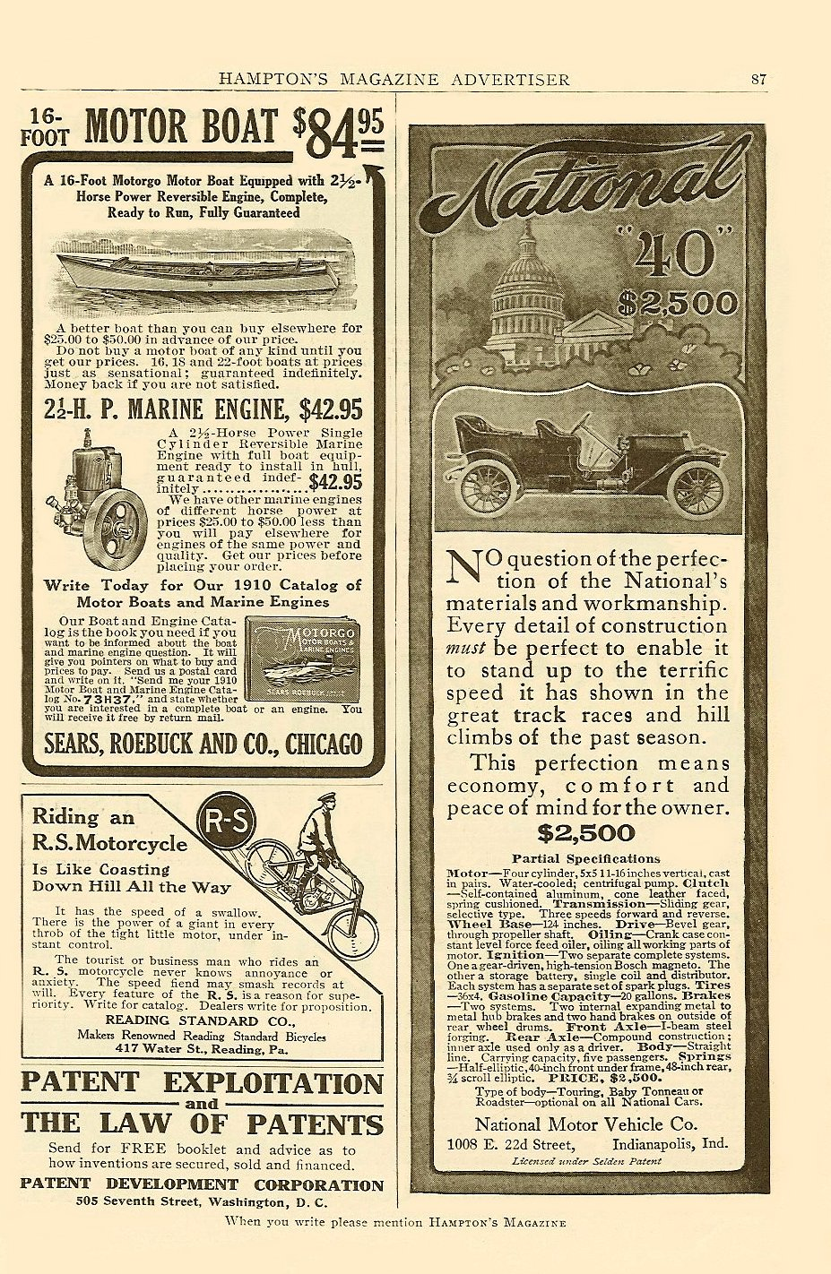 "1910 3 3 NATIONAL National ""40"" $2,500 ($2,500 = $51, 326 in 2005) LIFE magazine March 3, 1910 9″x11″ page 412"