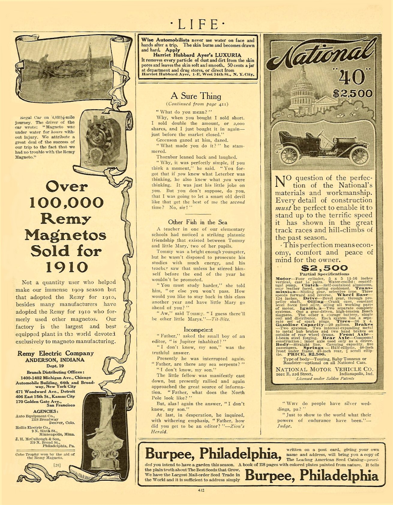 "1910 NATIONAL National ""40"" $2,500 ($2,500 = $51, 326 in 2005) LIFE magazine April 1910 6.5″x9.75″ page 87"