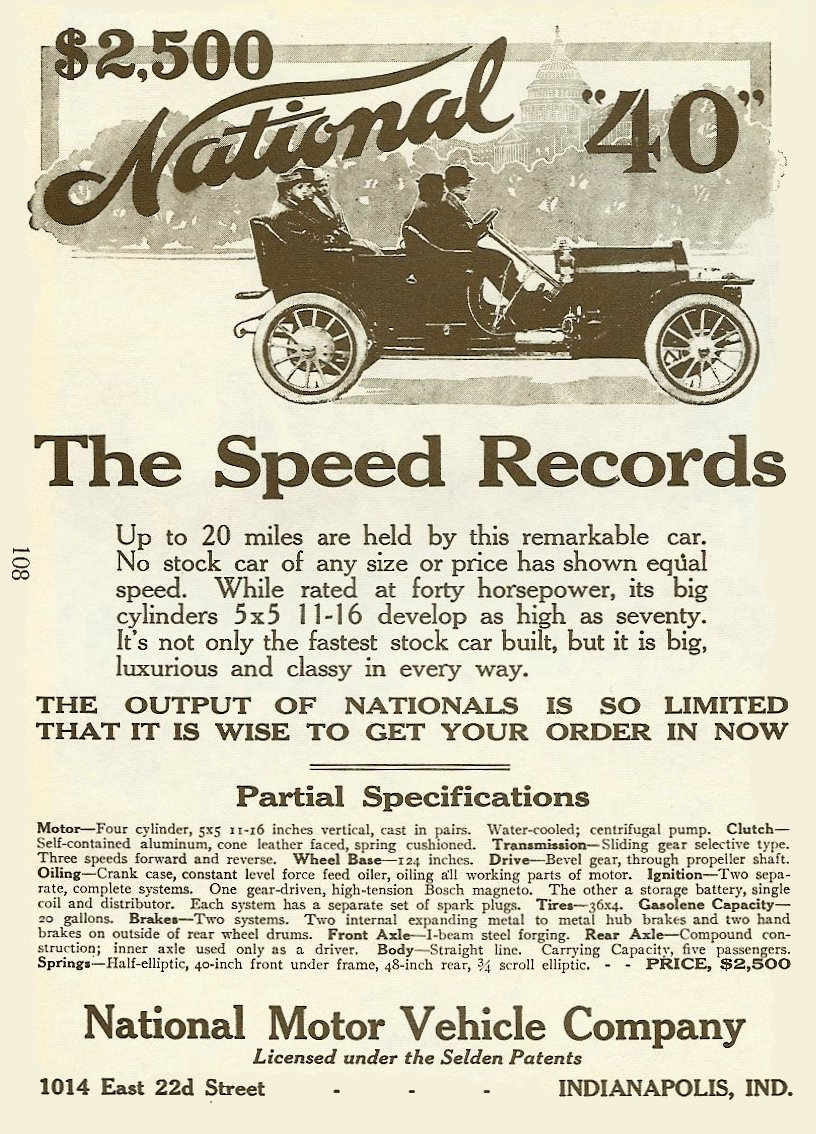 1910 NATIONAL National magazine AD 1895-1930 The Wonderful World of AUTOMOBILES Edited By Joseph J Schroeder, Jr., 1971 ISBN: 0-695-80223-2 page 108