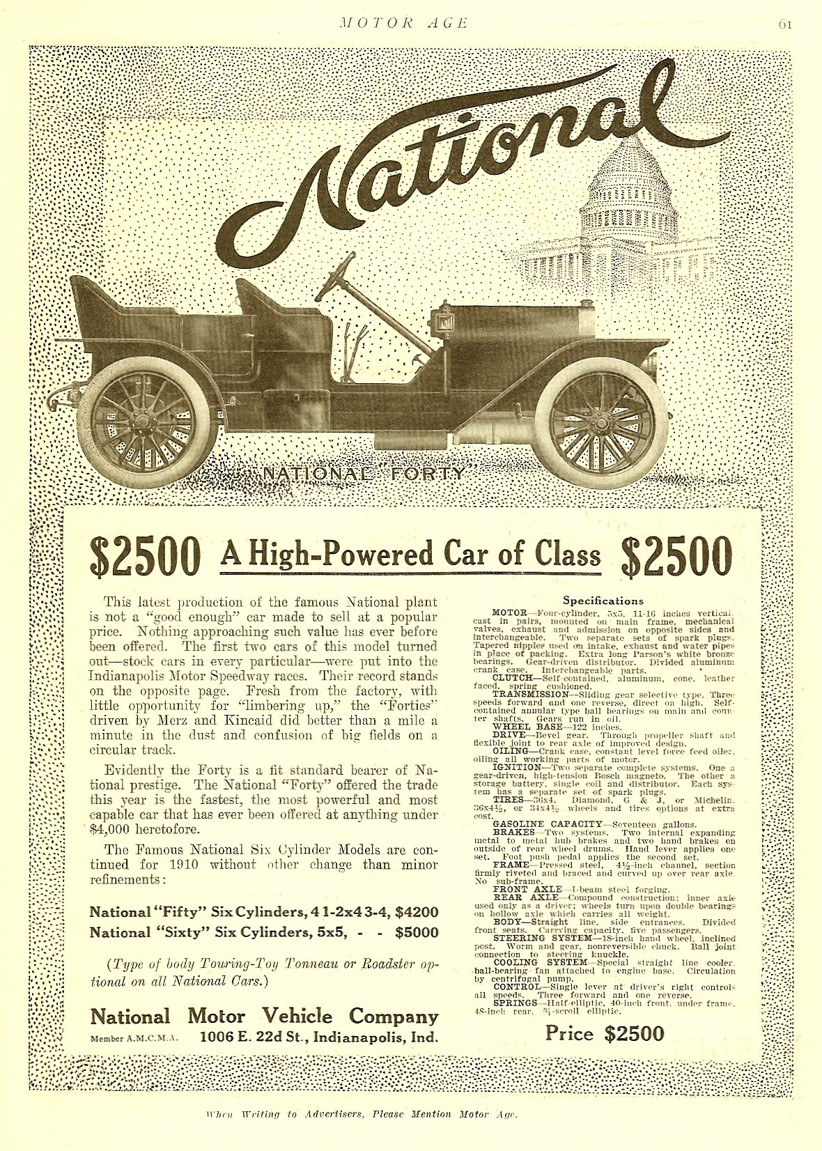 "1909 9 1910 NATIONAL National ""Forty"" 1910 Model A High-Powered Car of Class $2,500 MOTOR AGE Sept 1909 8.5″x11.75″ page 61"