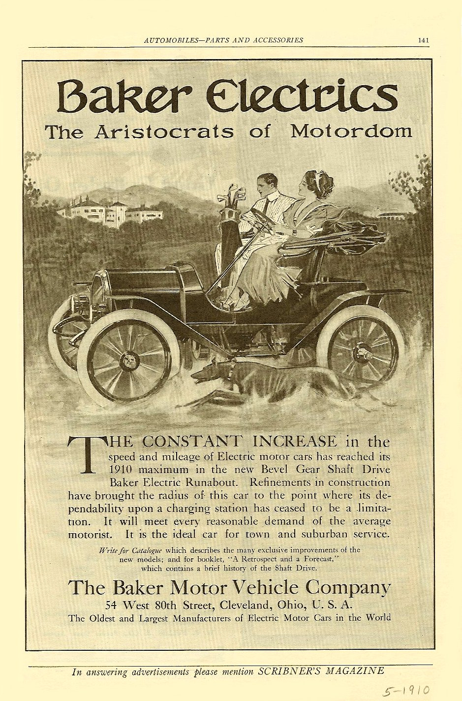 "1910 5 Baker Electrics ""The Aristocrats of Motordom"" SCRIBNER'S MAGAZINE AUTOMOBILES – PARTS AND ACCESSORIES May 1910 6″x9.5″ page 141"