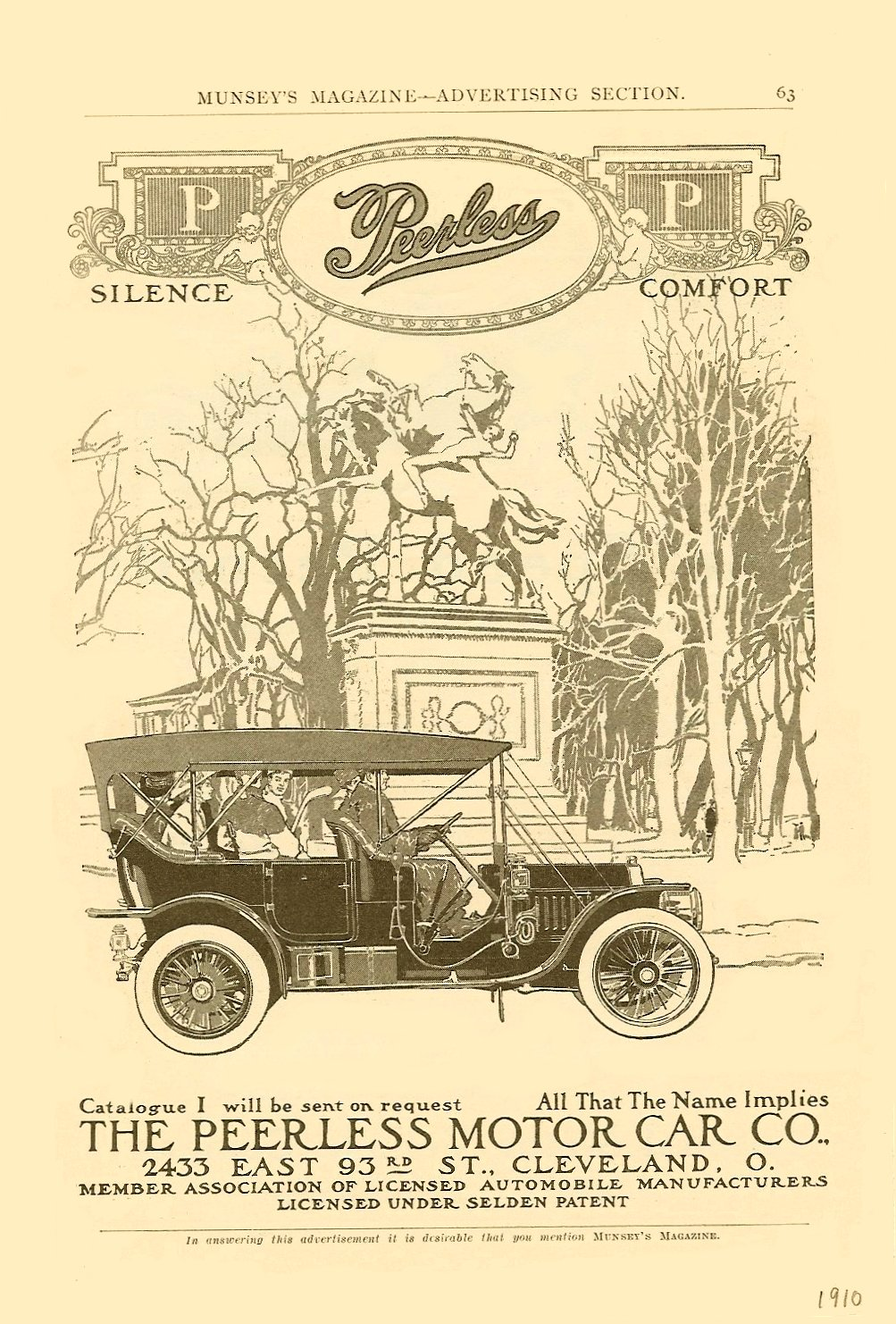1910 Silence PEERLESS Comfort MUNSEY'S MAGAZINE – ADVERTISING SECTION 1910 6.5″x9.75″ page 63