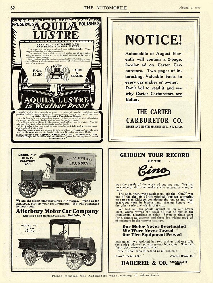 "1910 8 4 MODEL ""K"" 20 HP DELIVERY CAR 1910 MODEL ""L"" 1 ½ TON TRUCK Atterbury Motor Car Company Buffalo, NY THE AUTOMOBILE August 4, 1910 9″x12″ page 82"