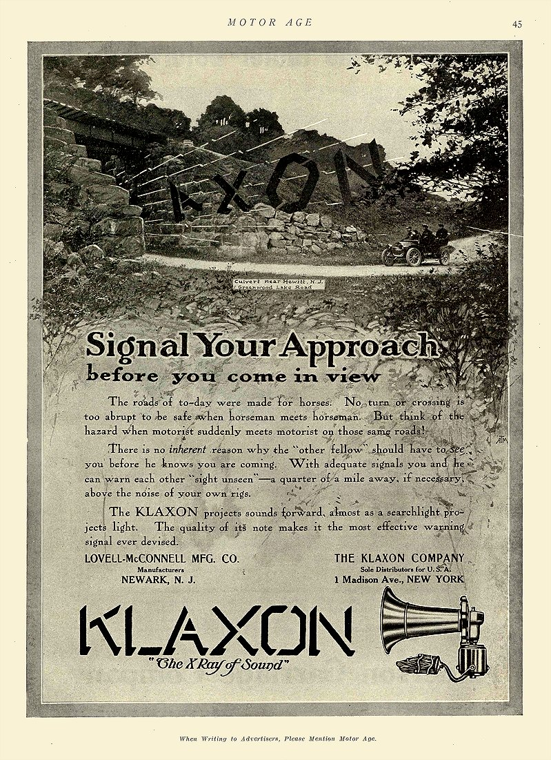 "1910 1 20 KLAXON Horns ""The X Ray of Sound"" Lovell-McConnell MFG CO Newark, N.J. MOTOR AGE January 20, 1910 8.5″x12″ page 45"